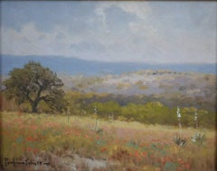"""Indian Paint Brush & Cactus"" Texas Hill Country Painting Texas Wildflowers"