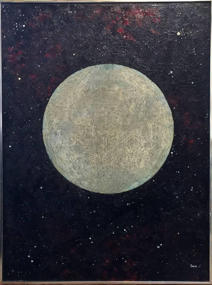 """The Moon Party""  Mid Century Modern Texas Painting Oil Heavy impasto"