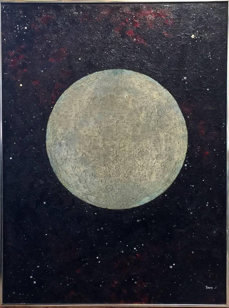"""Michael Frary Landscape Painting - """"The Moon Party""""  Mid Century Modern Texas Painting Oil Heavy impasto"""