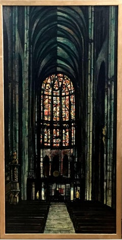 """Notre Dame de Amiens""  Mid Century Modern Texas Painting Oil"