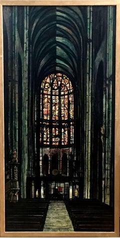 """Notre Dame de Amiens""  Mid Century Modern Texas Painting Oil"