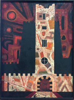 """Victoria Tower England""  Mid Century Modern Texas Painting Oil"