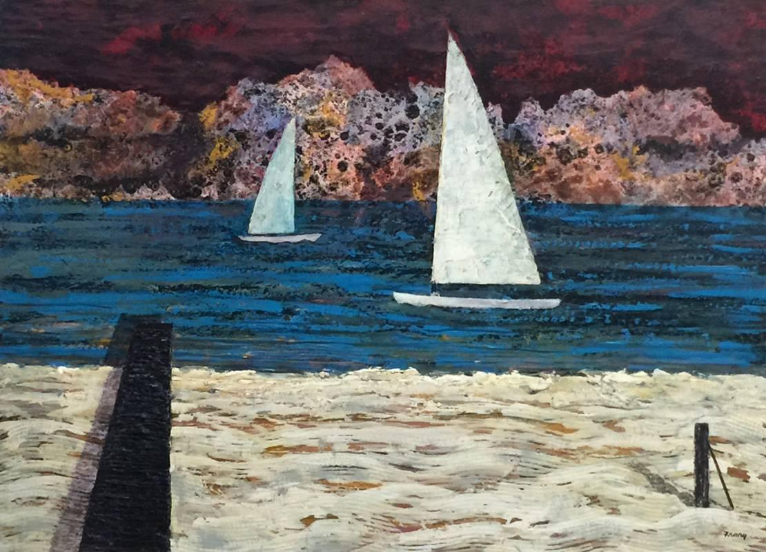 """""""Strange Storm Coming""""  Sail Boats, Mid Century Modern Texas Painting"""