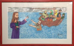 """Peter Walks The Water""  Jesus and Peter  Black African American Folk Painting"