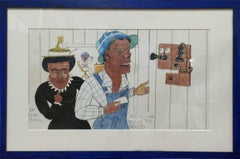 """The First Time on Telephone""    Black African American Folk Painting"