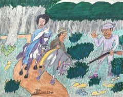 """Two Riding Through The Woods""  Black Texas Folk Artist Johnny Banks African"