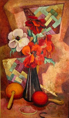 """Mid Century Still Life""  A burst of color.  Beautiful painting"