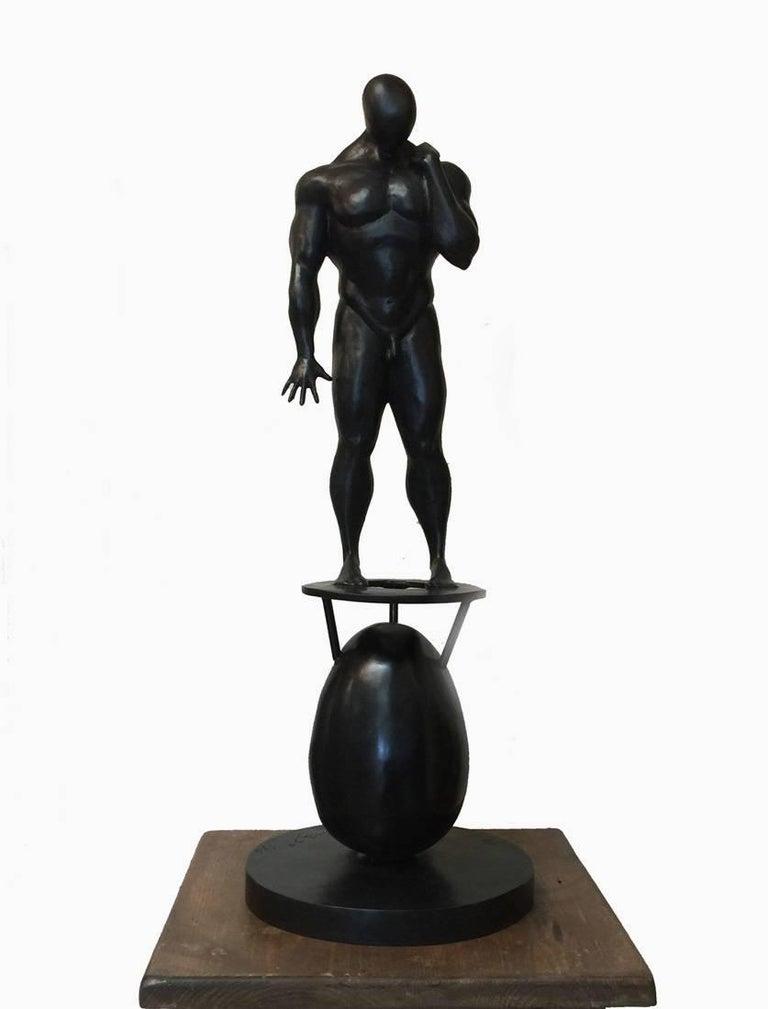 "Alberto Saucedo Figurative Sculpture - ""The Enigma of The Egg""  Texas/Mexican Artist Studied with Zuniga  Nude Male"