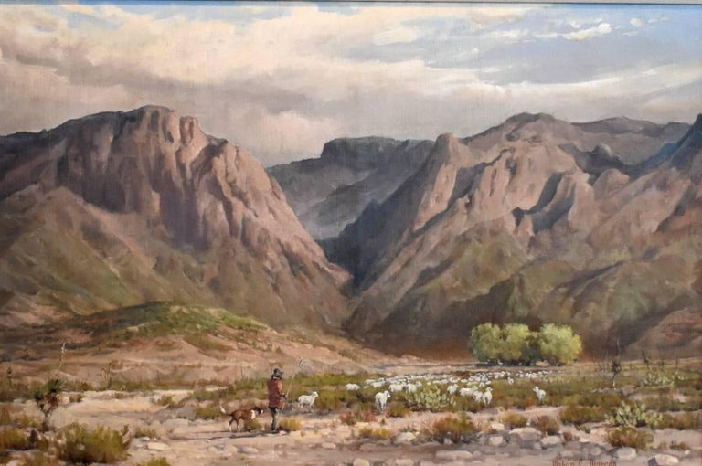 Searching For Greener Pasture Chisos Mountains (Big Bend) Texas Native American - Painting by Melvin Warren