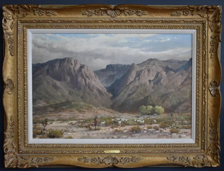 Melvin Warren Animal Painting - Searching For Greener Pasture Chisos Mountains (Big Bend) Texas Native American