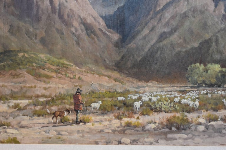 Searching For Greener Pasture Chisos Mountains (Big Bend) Texas Native American - Impressionist Painting by Melvin Warren