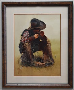 """""""Chow Time"""" Western Texas Cowboy painting."""