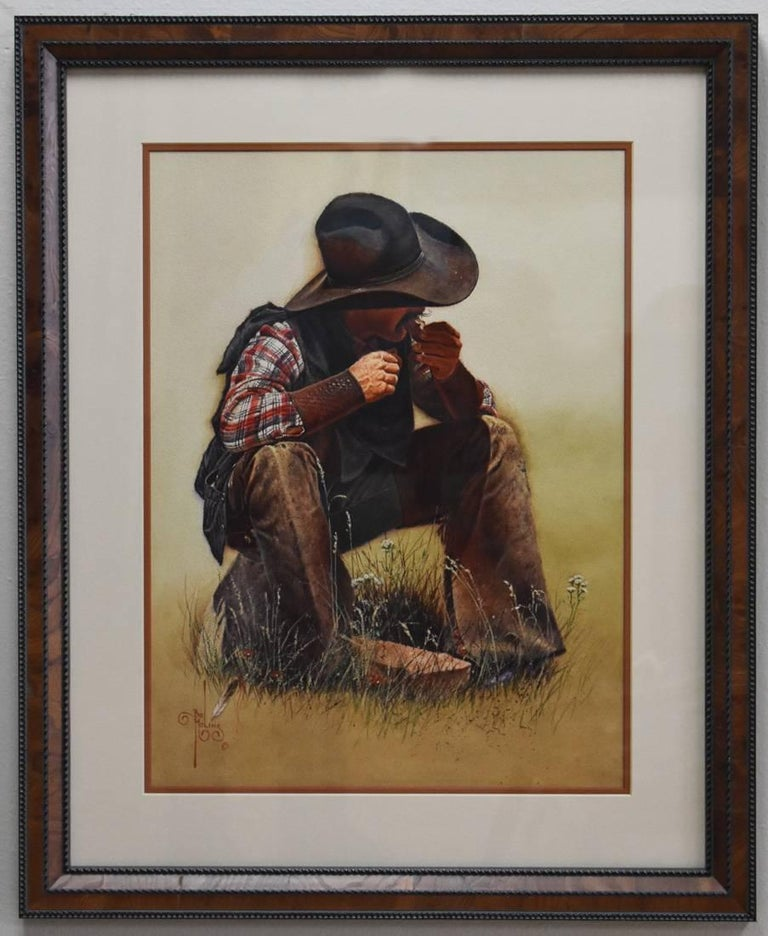 """Bob Moline Figurative Painting - """"Chow Time"""" Western Texas Cowboy painting."""