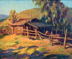 """""""Home Corral""""  Very early Wieghorst California Western Painting awesome colors"""