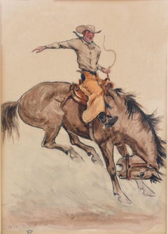 """Bronco Buster""  SADDLE BRONC RODEO COWBOY WESTERN HORSE RODEO PAINTING"