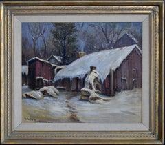 """The Irish Flats in Snow""  San Antonio Texas 1926 Painting"