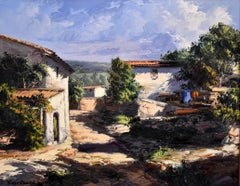 """""""HOUSES AT THE COUNTRYSIDE""""  Catalonia Spain The Artist of """"Light"""" Palette Knife"""