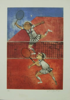 Two Girls Playing Tennis by Boulanger original color lithograph limited edition