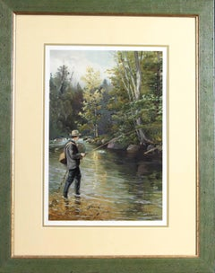 """Trout Fishing from """"Sport or Fishing and Shooting"""" ( 1889- 1890) chromolithgraph"""