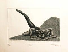 """ Ballet ""  Raul Anguiano original etching 1970"