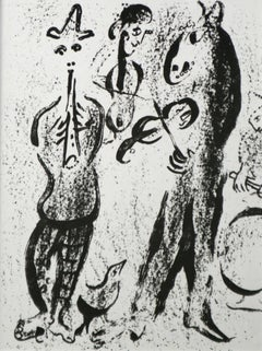 Itinerant Musicians Chagall original lithograph printed by Mourlot 1963