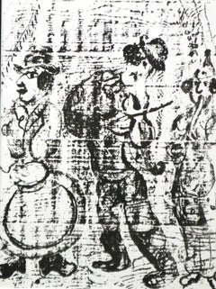 Les Musicians Vagabonds, Wondering Musicians lithograph printed  by Mourlot 1963