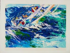 High Seas Sailing  Leroy Neiman original serigraph 1976 Racing Boats