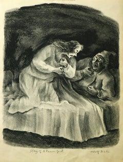 Story of a Farm Girl Adolf Dehn original lithograph 1945 signed by artist pencil