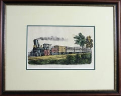The Express Train published by Currier & Ives original lithograph framed