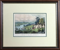 Scenery of the Upper Mississippi, An Indian Village Currier & Ives lithograph
