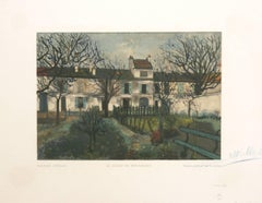 Le Jardin De Montmagny Utrillo Estampes Robert Rey woodcut 1950 signed by artist