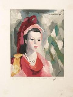 Portrait De Femme En Rouge Marie Laurencin Woodcut 1950 Estampes Robert Rey