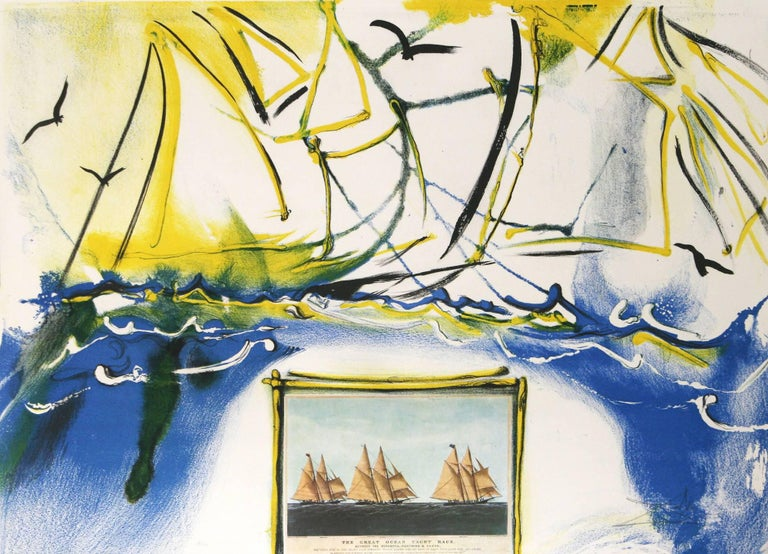 American Yachting Scene Salvador Dali Currier Ives series  lithograph 1971