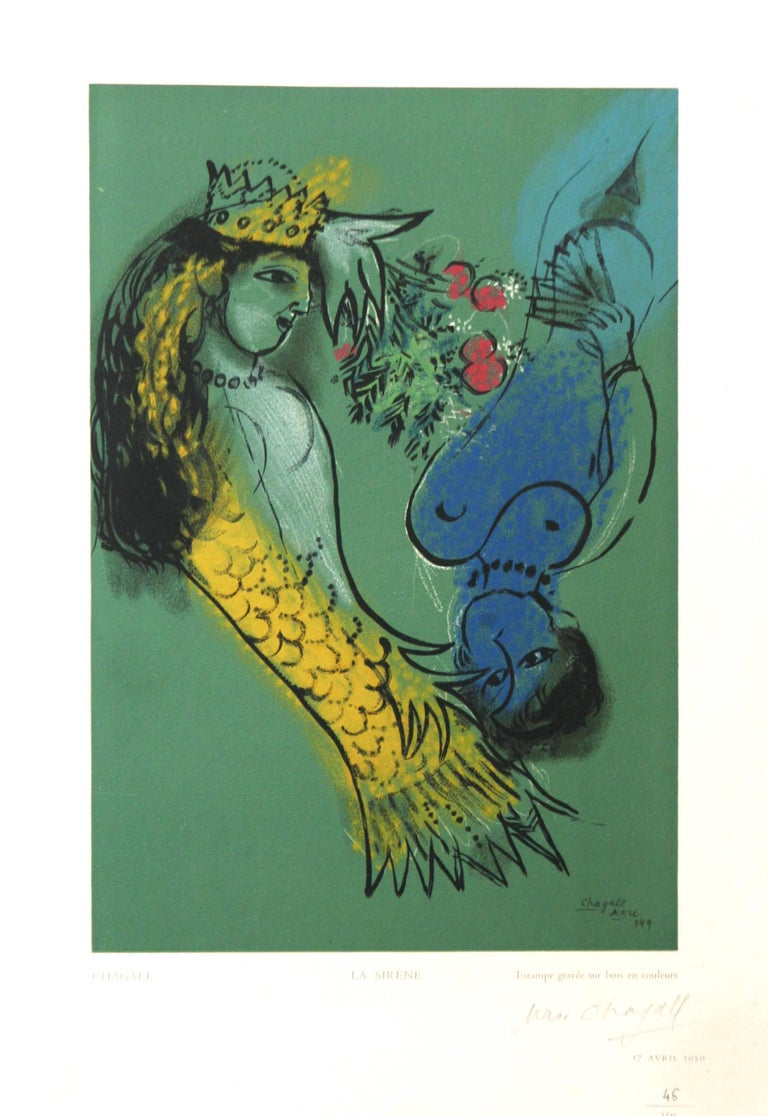"""""""La Sirène"""" Chagall wood engraving  pencil signed from Estampes Robert Rey 1950"""