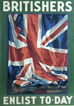 Britishers Enlist Today WWI propaganda poster Guy Lipscomb 1917 lithograph