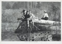 Waiting for A Bite  Winslow Homer Harpers Weekly wood engraving 1874
