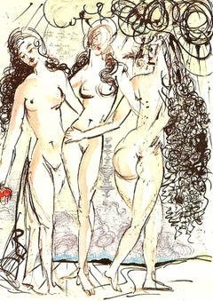 Three Graces original signed limited edition lithograph by Salvador Dali 1966