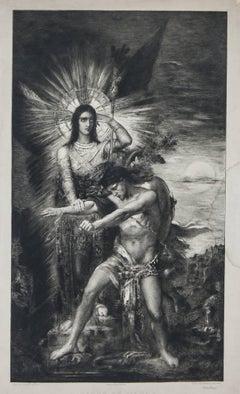 Jacob et L'ange (aft.) Gustave Moreau engraved C.A. Waltner  circa 1800's