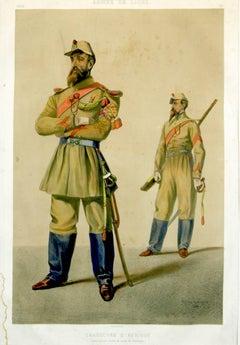 Chasseurs D'Afrique, Armee de Ligne  lithograph pub. Lemercier 1861
