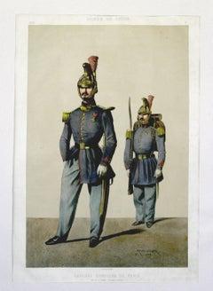 Sapeurs- Pompiers De Paris, Armee de Ligne pub. Lemercier lithograph 1861