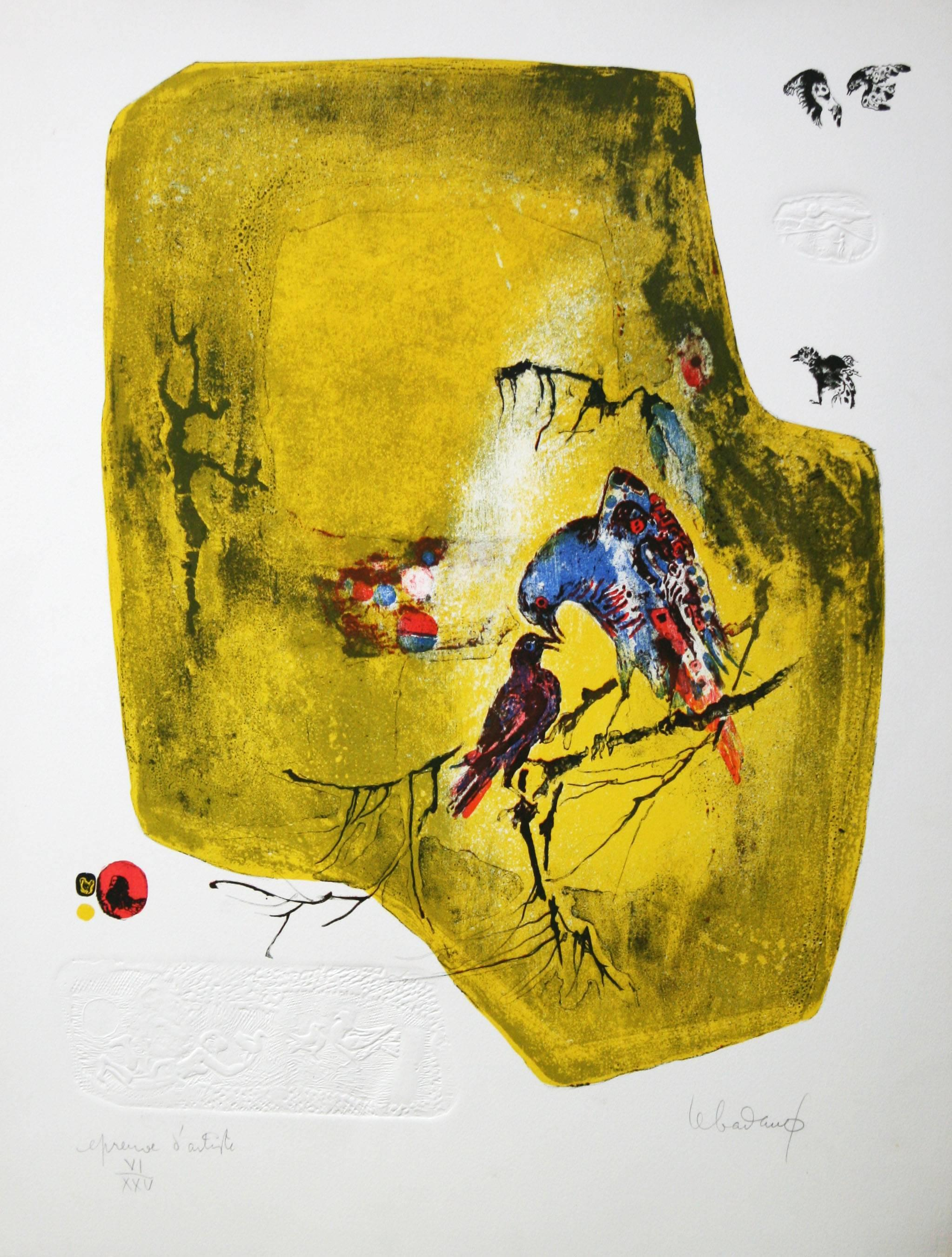 Birds on a Branch original lithograph Dang Lebadang