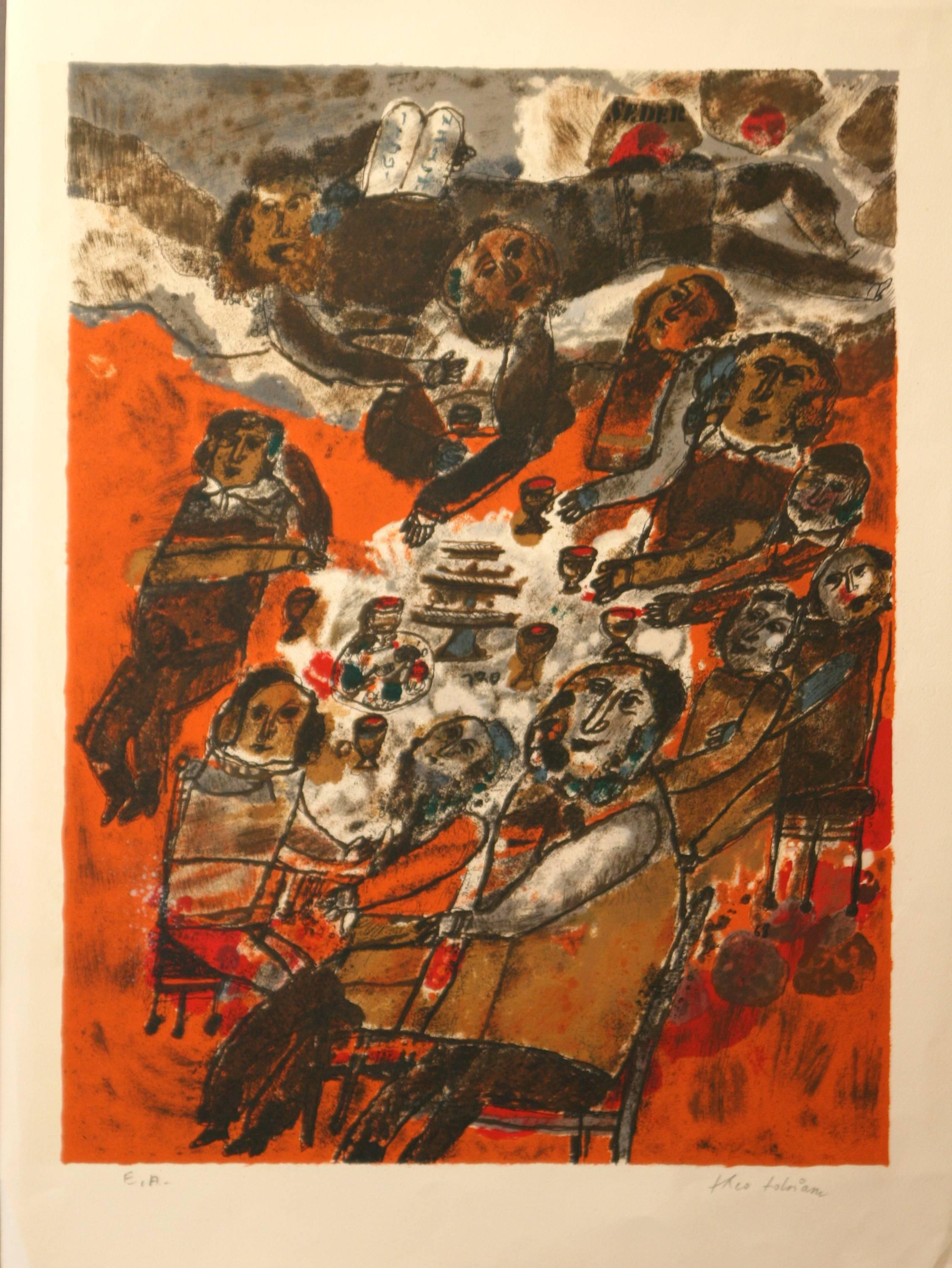 """""""Seder""""  original artists proof signed lithograph by Theo Tobiasse"""