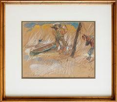 Hunters and canoe