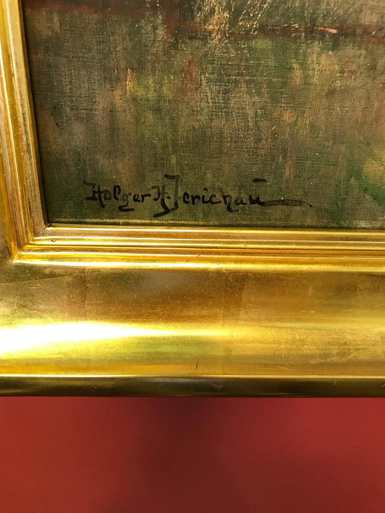 A fine semi-impressionistic oil painting on canvas by noted Danish artist, Holger H. Jerichau (1861-1900). Signed lower left, framed in a new Scott Browning 22-carat gold-leaf frame.