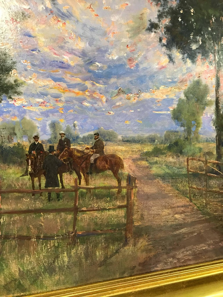 Riders in the Sunset - Brown Animal Painting by Holger H. Jerichau