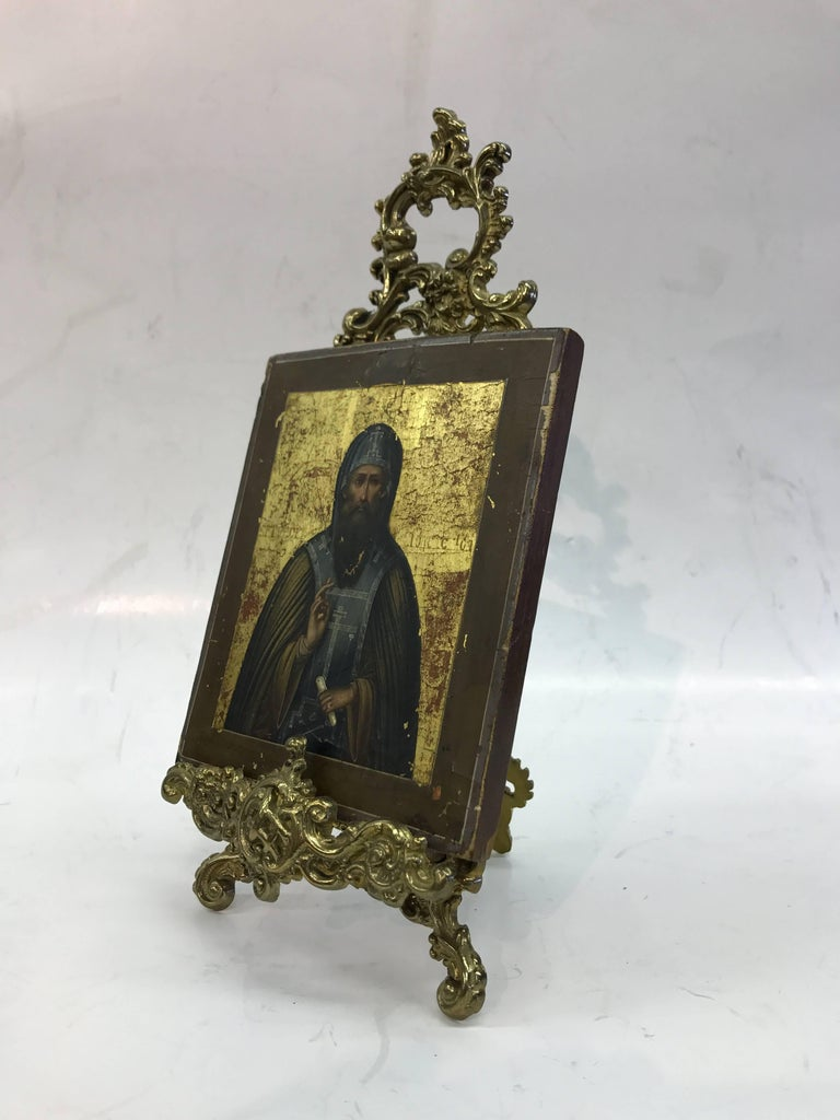 Russian Icon with Stand - Black Portrait Painting by Unknown
