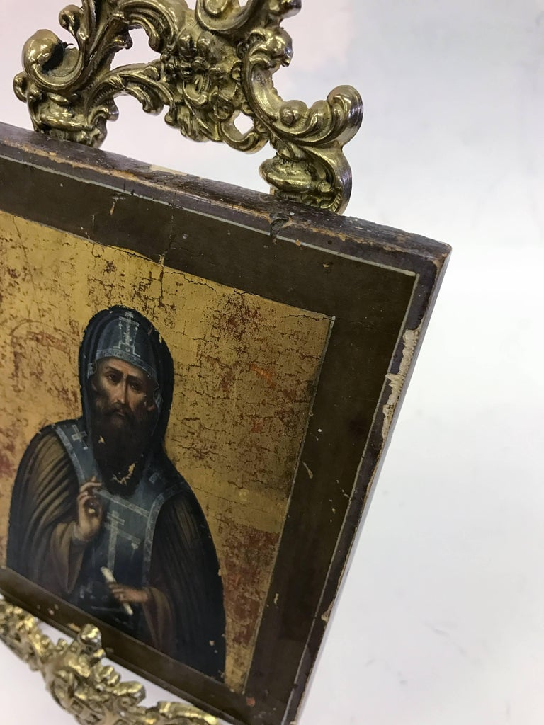 Russian Icon with Stand For Sale 5