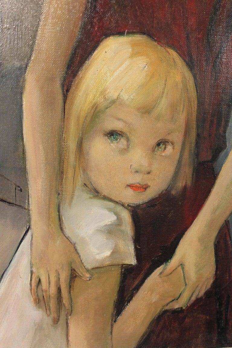 Children - Brown Portrait Painting by Pierre Le Faguays