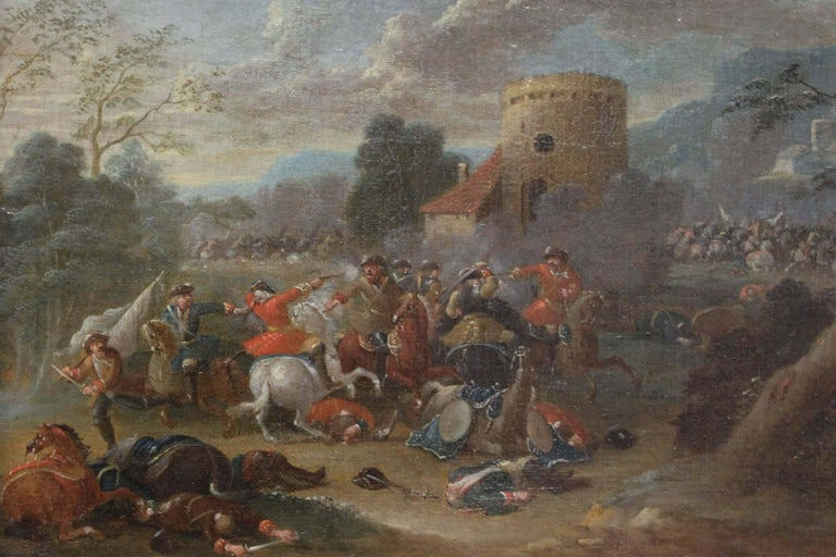 Cavalry Engagement Attributed to Karel Breydel - Brown Figurative Painting by Unknown