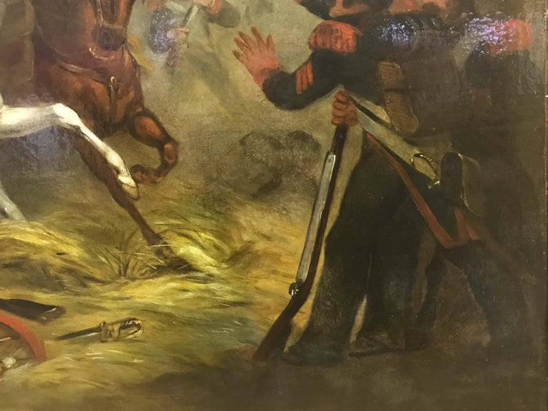 An important painting of Napoleon at battle with partial signature and date
